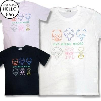 エヴァンゲリオン サンリオ コラボ T ミニキャラ 柄 半袖 Tシャツ アメカジ 薄手 メンズ / bia367