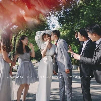 ウェディングドレス ロングドレス 結婚式 リボン ウエディングドレス 二次会 花嫁 前撮り エレガント サテン ホワイト シンプル リゾート ワンピース 後撮り