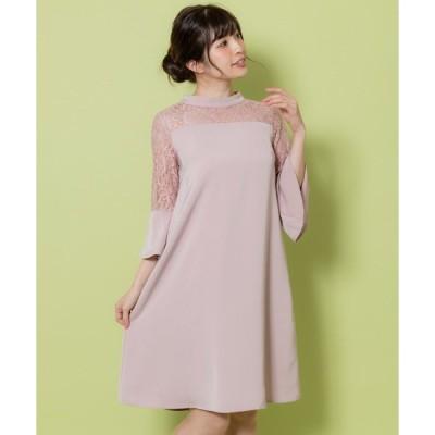 ドレス レース切替サックドレス(9R04-61606)