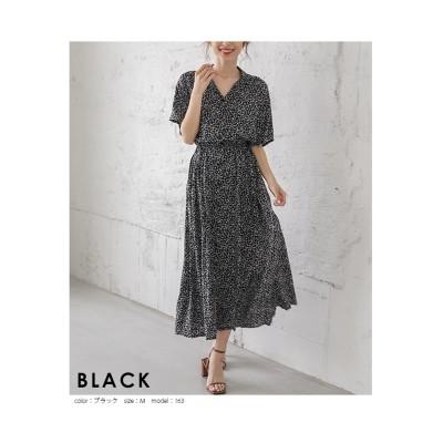 【la-gemme】フラワー柄前後2Wayワンピース (ワンピース)Dress