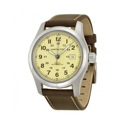 Khaki Field Beige Dial Brown Leather Automatic Men's Watch