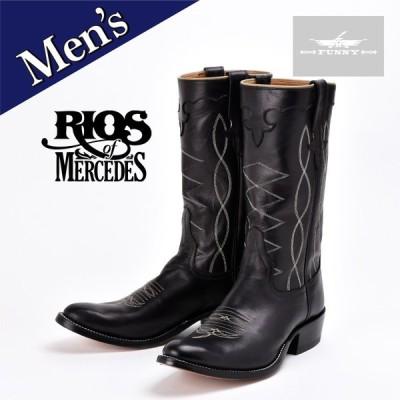 RIOS OF MERCEDES メンズ カウボーイ ブーツ [102699] ブラック ウエスタンブーツ  カーフ レザー 男性用 本革 牛革 黒 リオス オブ メルセデス