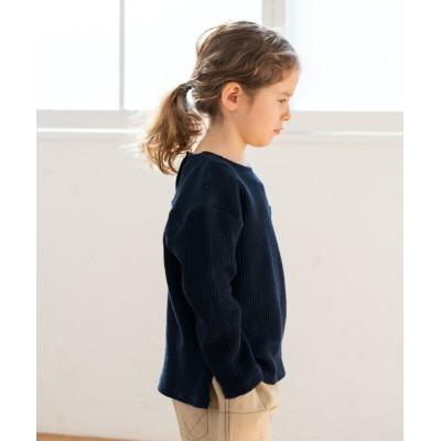 【リジェール】 ピュアコットンワッフルTシャツ ユニセックス ネイビー 110 riziere