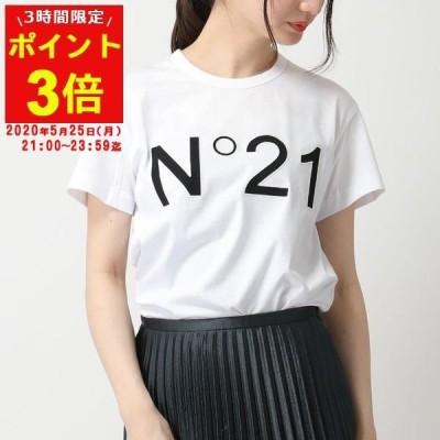 N°21 ヌメロヴェントゥーノ F011 6314 LOGO クルーネック 半袖 Tシャツ カットソー ロゴ 刺繍 1101/ホワイト レディース