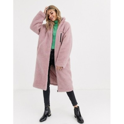 エイソス レディース コート アウター ASOS DESIGN maxi patched fleece coat in pink
