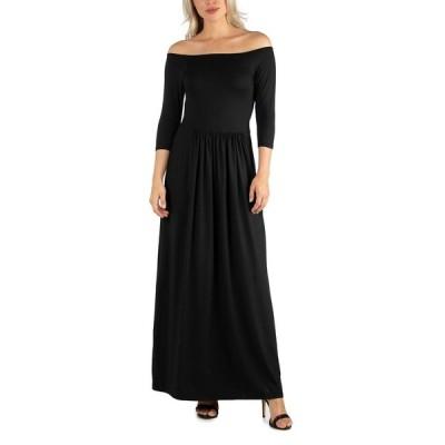 24セブンコンフォート ワンピース トップス レディース Women's Off Shoulder Pleated Waist Maxi Dress Black