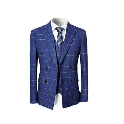[YFFUSHI] スーツ メンズ スリーピース 1つボタン ダブルボタン チェック柄 ストライプ ビジネス スリム