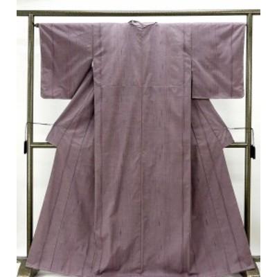 紬 未着用 正絹 楽粋織 縦縞幾何模様 紬 未使用 着物