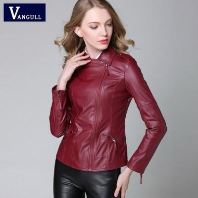 女性フェイクレザージャケット ファッションスリムターンカラー PUレザーオートバイジャケット S-4XL red M