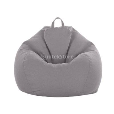 ビーンバッグカバー ストレージバッグ ぬいぐるみ 収納袋 リネン製 約100*120cm 全10色 - グレー