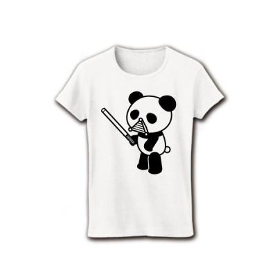 パンダの騎士 リブクルーネックTシャツ(ホワイト)