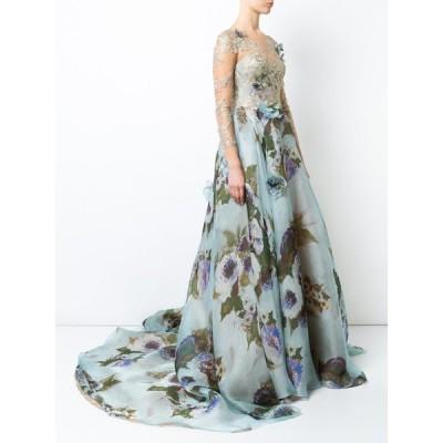 ワンピース マルケッサ  MARCHESA Gold Lace Panel Flared Gown Dusty Blue Floral Long Sleeve 6 8
