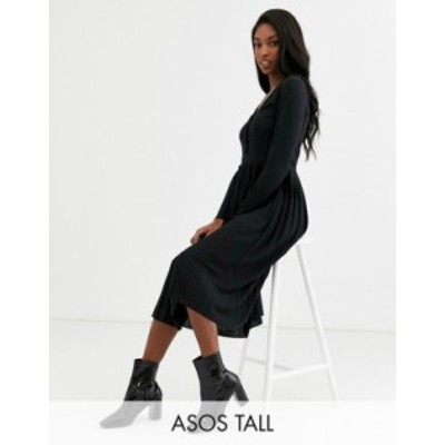 エイソス レディース ワンピース トップス ASOS DESIGN Tall long sleeve pleated mini dress Black