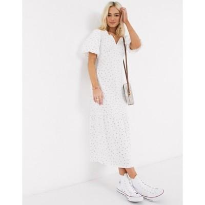 エイソス レディース ワンピース トップス ASOS DESIGN midi dress with bubble sleeve in white