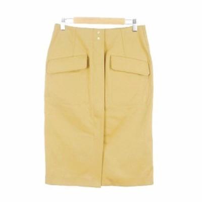 【中古】未使用品 マカフィー トゥモローランド 18SS スカート タイト ひざ丈 ジップフライ 36 黄色 レディース