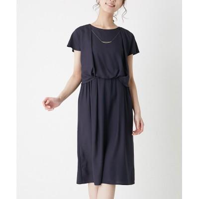 ネックレス付ジョーゼットワンピース (ワンピース)Dress