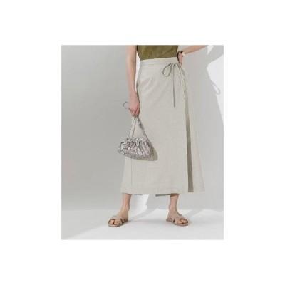 ティティベイト titivate リネンライクラップAラインリボン付スカート (グレージュ)