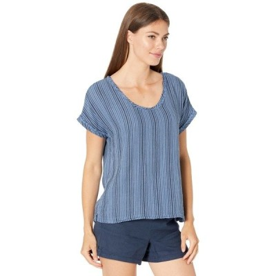 モッドドック シャツ トップス レディース Garment Dye Stripe Gauze Short Dolman Sleeve Top Ocean