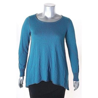 スタジオ エム セーター ニット Studio M ブルー Solid 長袖 Scoop Neck セーター サイズ L 88LAFO