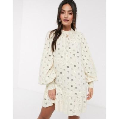 エイソス レディース ワンピース トップス ASOS DESIGN broderie long sleeve mini smock dress in cream