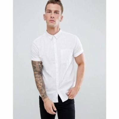 リバーアイランド シャツ River Island regular fit linen shirt in white White