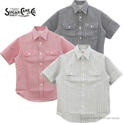 シュガーケーン SUGAR CANE ヒッコリーストライプ半袖ワークシャツ SC37944 メンズ 日本製