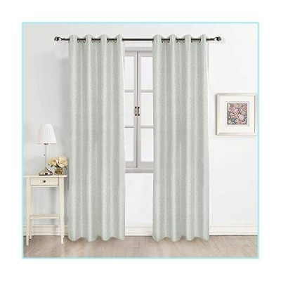 "新品FULAN Jacquard Curtains 84"" Length 1 Pair, Off White 100% Blackout Natural Linen Textured & Blackout Thermal Insulated for Bedroom/Liv"
