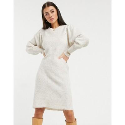 セレクティッド レディース ワンピース トップス Selected Femme knitted dress with exaggerated sleeved in cream