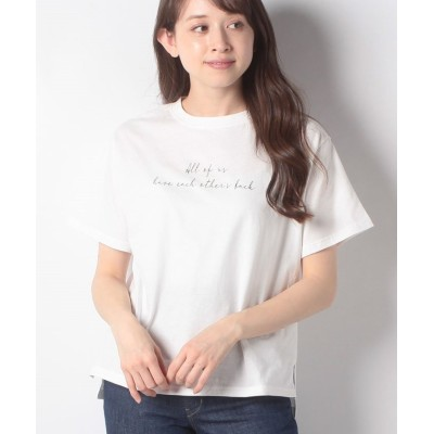 (earth music&ecology/アースミュージックアンドエコロジー)Stay true to yourself BOX Tシャツ/レディース オフホワイト