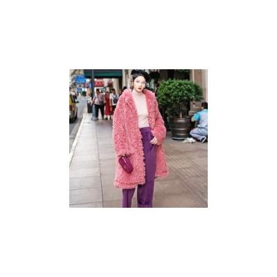 ムートンコート レディース 毛皮コート ファーコート アウター ジャケット ロング丈 柔らかい モコモコ 厚手 防寒 暖かい あったか 冬物 新作 送料無料