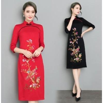 2点送料無料 レディース ワンピースドレス 中国風 チャイナ風 花柄 ゆったり ボタン  ナチュラル エスニックリネン ふんわり