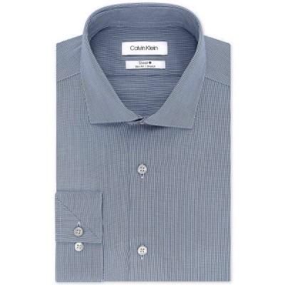 カルバンクライン シャツ トップス メンズ Calvin Klein Men's STEEL Slim-Fit Non-Iron Stretch Performance Dress Shirt Smokey Blue