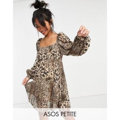 エイソス ミディドレス レディース ASOS DESIGN Petite square neck pleated mini skater dress in natural leopard エイソス ASOS
