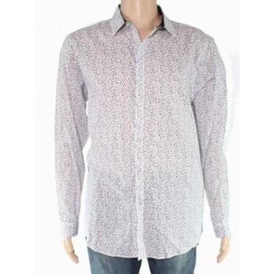 ファッション アウター INC Mens Shirt White Size XL Long-Sleeve Button Down Ditsy Print