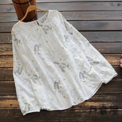 シャツ ブラウス レディース きれいめ 40代 春 大きいサイズ ボタニカル柄 刺繍 丸首 長袖 プルオーバー トップス j82806