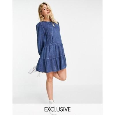 ウェンズデーガール レディース ワンピース トップス Wednesday's Girl mini smock dress with tiered skirt in denim