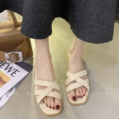 サンダル レディース 夏 ヒール 歩きやすい オシャレ スリッパサンダル 可愛い ビーチサンダル 履きやすい 痛くない 美脚 シューズ 夏用サンダル さわやか 2色