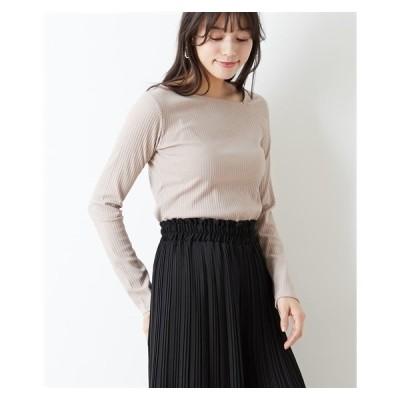 Tシャツ カットソー レディース ワン ショルダー 風 デザイン テレコリブ トップス  M/L ニッセン nissen
