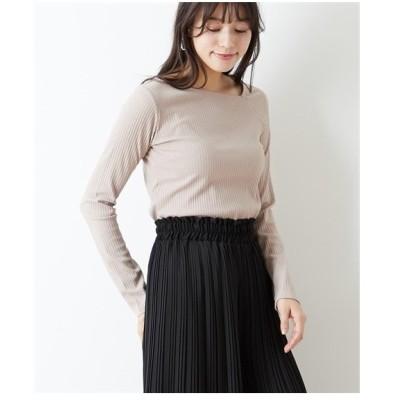 Tシャツ カットソー レディース ワン ショルダー 風 デザイン テレコリブ トップス  M/L ニッセン