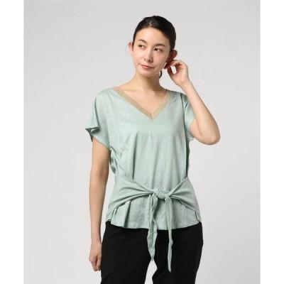 tシャツ Tシャツ 【CHARLI】メタリックネック2WAYリネンTシャツ