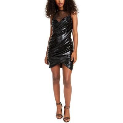 SHO レディース ボディコンドレス ワンピース・ドレス Ruched Faux-Leather Bodycon Dress Black