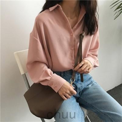 ロングブラウスシャツワイシャツ着痩せシフォンブラウストップスレディース40代ゆったり韓国風29オシャレボタン開襟3色