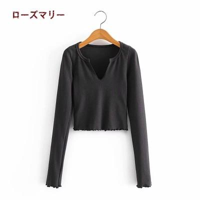 ローズマリー 欧米風2021 1月 春 新品販売  短めの長袖Tシャツ トップス    ベーシック  大人気   レジャー  2101173