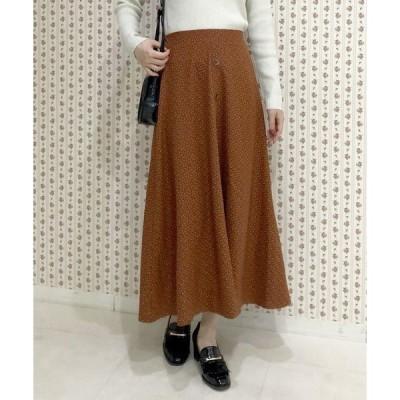 スカート 【限定item!!】フロント釦小紋柄フレアスカート