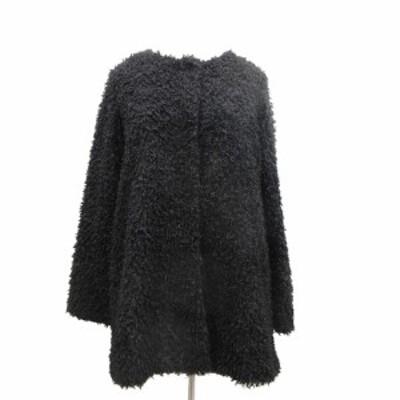 【中古】ジャイロ JAYRO ノーカラー コート ジャケット ミドル シャギー M ブラック 黒/2 レディース