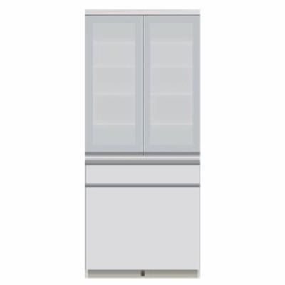 食器棚 パモウナ JI-801K 【幅80×奥行50×高さ187cm】 パールホワイト ソフトクローズ仕様 引出し