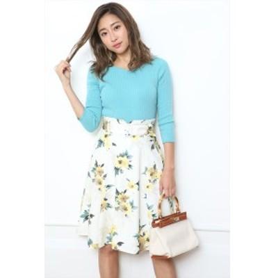 ジャスグリッティー(JUSGLITTY)/ベルト付フラワープリントフレアスカート