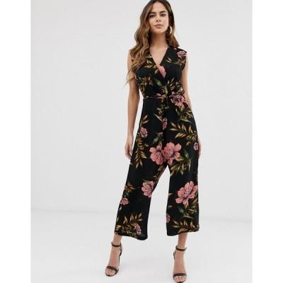 アックスパリ レディース ワンピース トップス AX Paris floral jumpsuit Black floral