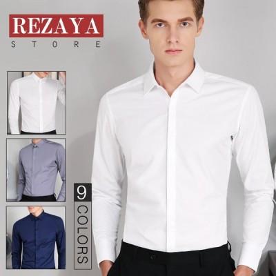 メンズシャツ 長袖 Yシャツ 春秋 無地   スリム  ビジネス   シンプル ワイシャツ メンズ 吸汗速乾 ドライ オシャレ カジュアル