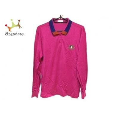 バレンシアガ 長袖ポロシャツ サイズL レディース 美品 - ピンク×ネイビー×ブラウン SPORTS 新着 20200913